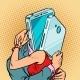 Virtual Date Man and Woman Hugging