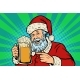 Santa Claus with a Mug of Beer Foam Christmas