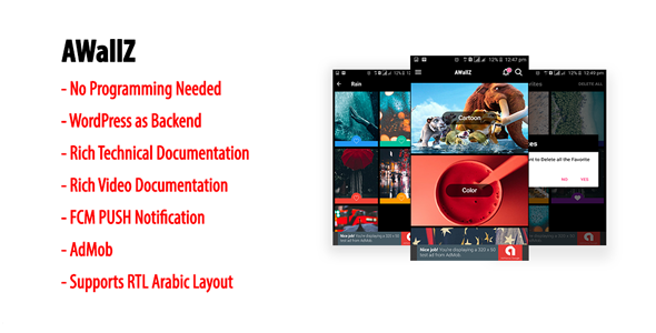 AWallZ | Native Android HD Wallpaper App with WordPress Back-end, AdMob & FCM PUSH Notification            Nulled