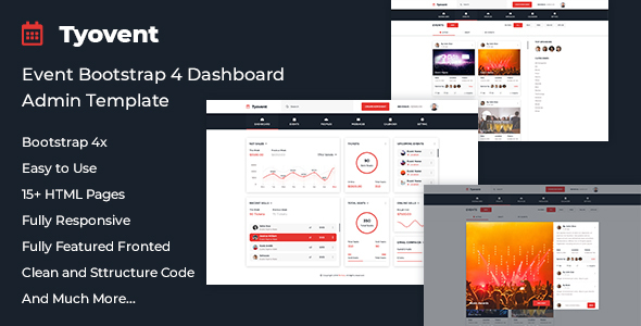 Tyovent - Event Management Dashboard HTML Template - Admin Templates Site Templates