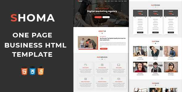 Shoma One Page Html Business Template By Mourithemes Themeforest