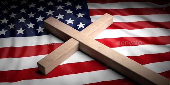 Christian cross on American flag background. 3d illustration - Stock Photo - Images