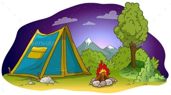 Cartoon Camping Tent and Campfire on Grass Lawn - Sports/Activity Conceptual