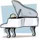 Cartoon Wooden White Grand Piano Vector Icon