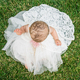 Beautiful little girl wearing white dress sitting on the grass - PhotoDune Item for Sale