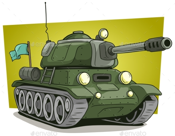 Cartoon Green Military Army Large Tank Vector Icon - Miscellaneous Vectors