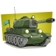 Cartoon Green Military Army Large Tank Vector Icon