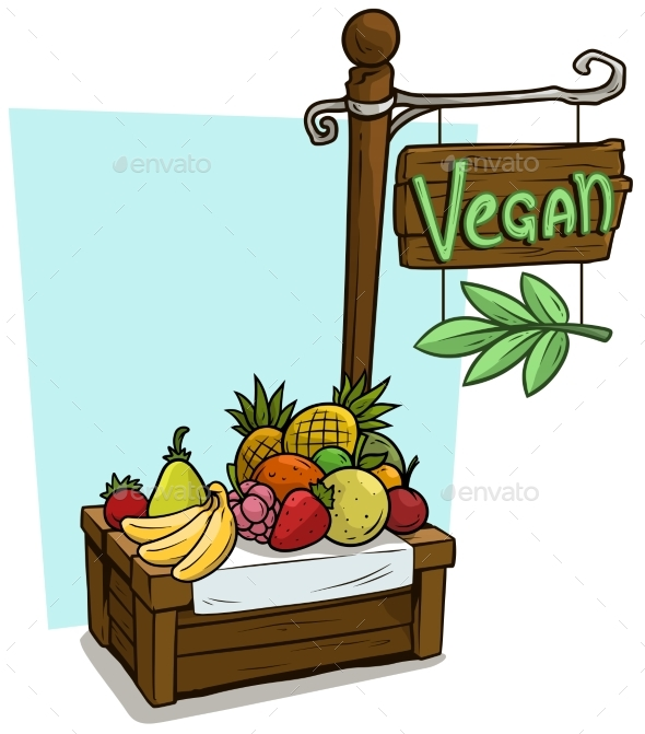 Cartoon Fruit Vendor Booth Market Wooden Stand - Miscellaneous Vectors