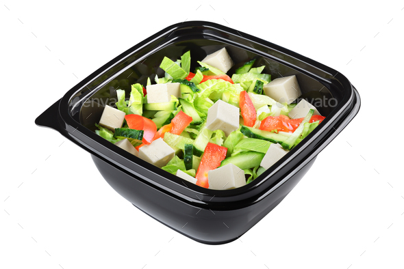 Greek salad isolated - Stock Photo - Images