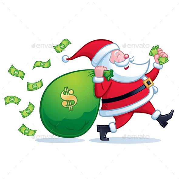 Santa Carrying Bag of Money - Christmas Seasons/Holidays