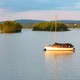 Yacht on a lake at sunset - PhotoDune Item for Sale