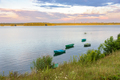 Boats on a lake at sunset - PhotoDune Item for Sale