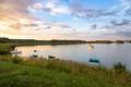 Boats and yacht on a lake at sunset - PhotoDune Item for Sale