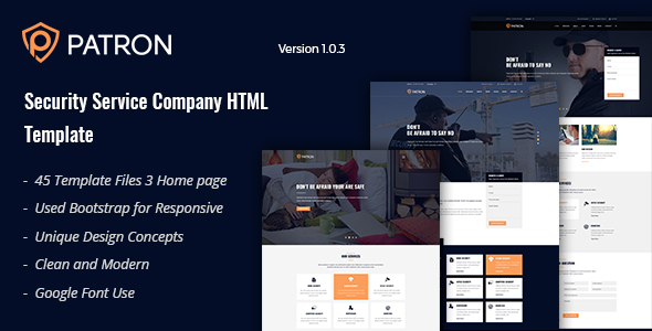 Patron - Security Service Company HTML Template - Corporate Site Templates