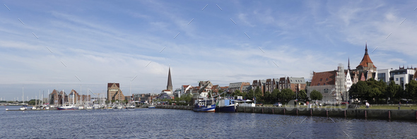 Aerial view of Rostock city - Stock Photo - Images