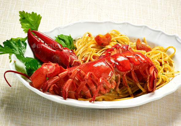 Plate of gourmet lobster linguine copia - Stock Photo - Images