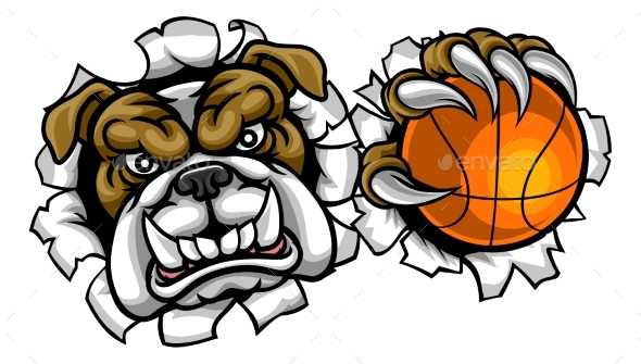 Bulldog Basketball Sports Mascot - Sports/Activity Conceptual
