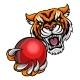 Tiger Holding Cricket Ball Mascot