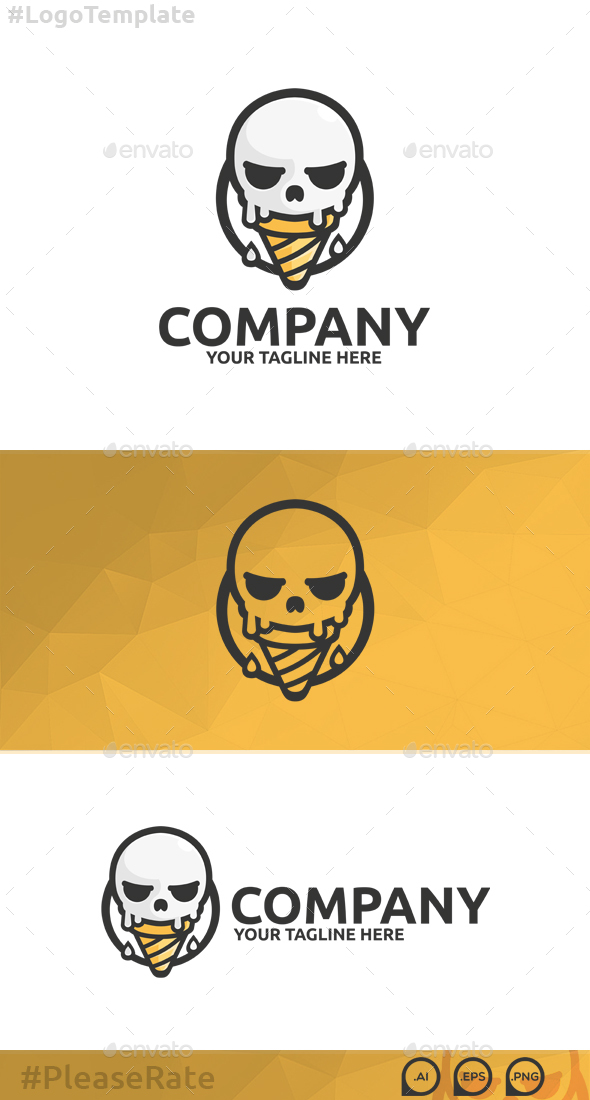 Skull Ice Cream Logo - Food Logo Templates