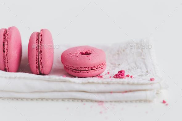 Strawberry Macaron on White Napkin - Stock Photo - Images
