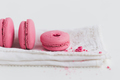 Strawberry Macaron on White Napkin - PhotoDune Item for Sale