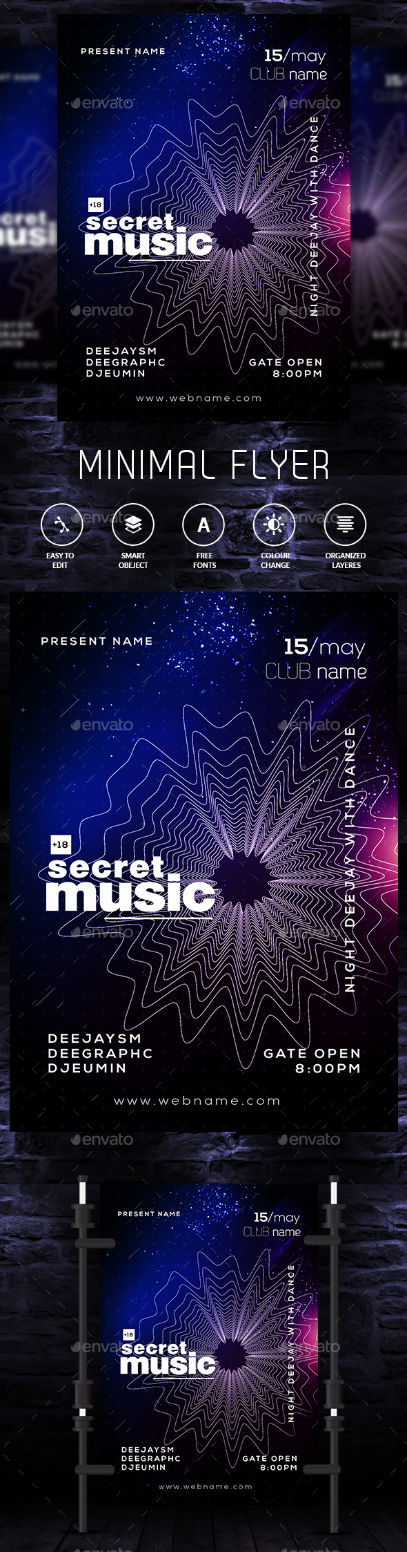 Minimal Music Flyer Template - Clubs & Parties Events