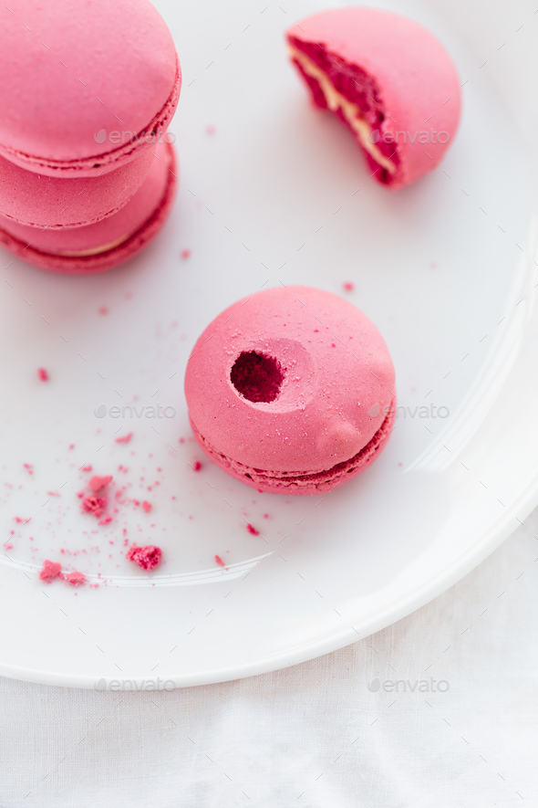 Close up of Pink Macarons on White Table - Stock Photo - Images