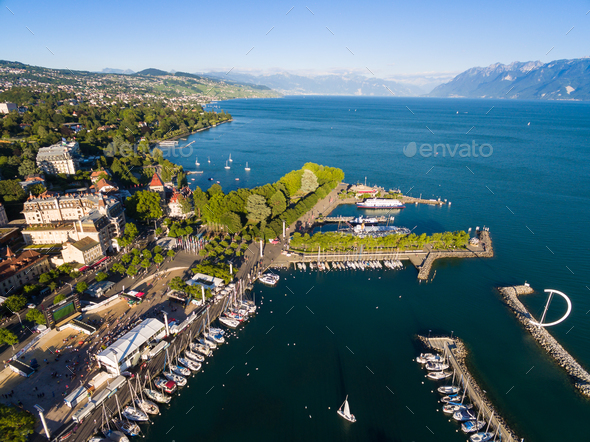Aerial view of Ouchy waterfront in  Lausanne, Switzerland - Stock Photo - Images