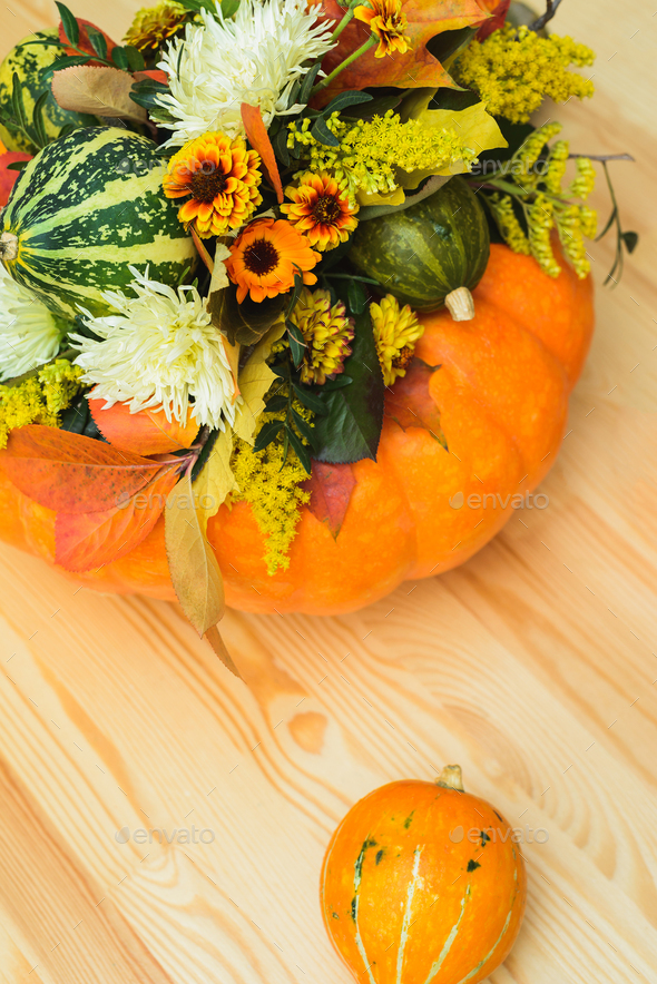 bouquet of pumpkins, flowers and leaves - Stock Photo - Images