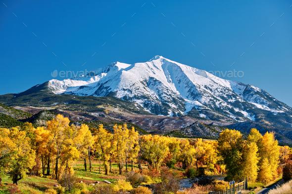 Mount Sopris autumn landscape in Colorado - Stock Photo - Images