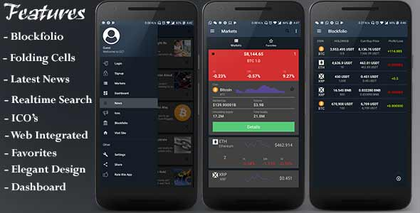 CCT - Crypto Currency Tracker Android App | Blockfolio | ICO's | Admob Ads | Notifications | News Item for Sale