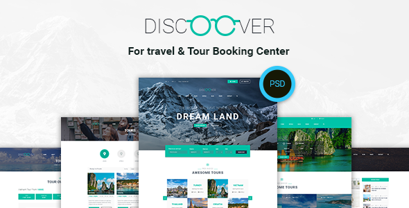 Discoover - Travel Tour Booking PSD Template - PSD Templates