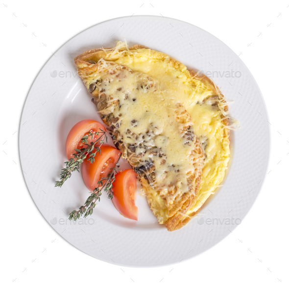 Omelet with cheese and mushrooms. - Stock Photo - Images
