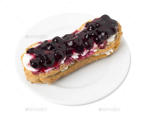 Delicious eclair with berry jam. - Stock Photo - Images
