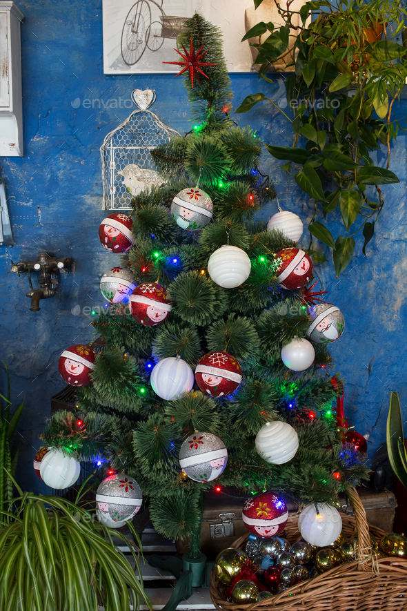 Decorated christmas tree. - Stock Photo - Images