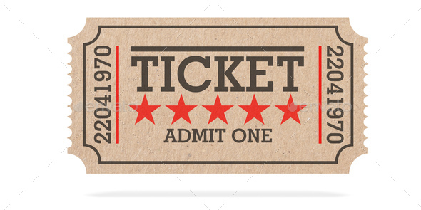 Cinema Old Type Ticket Beige Isolated Recycle Top View On A White Background 3d Illustration