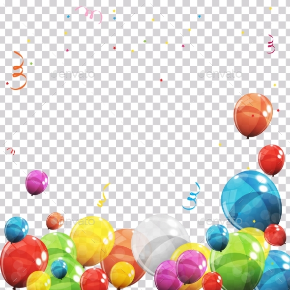 Color Glossy Balloons and Confetti on Transparent Background - Backgrounds Decorative