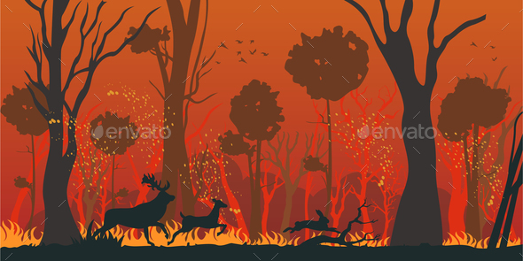 Natural Disaster Forest Fire Flat Vector Concept - Animals Characters