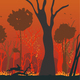 Natural Disaster Forest Fire Flat Vector Concept