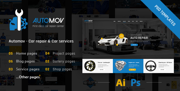 Automov - Car Repair, Auto Car Services PSD Template - Business Corporate