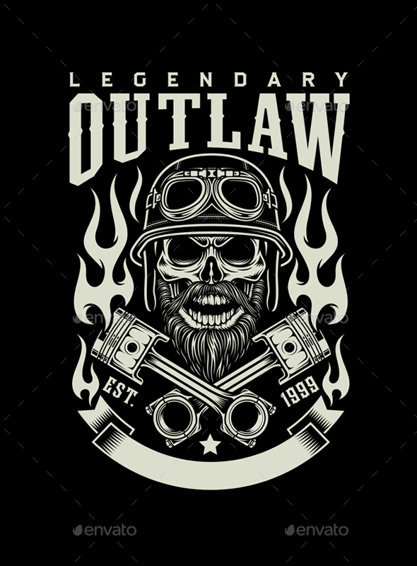 Bearded Biker Skull with Crossed Pistons Emblem - People Characters