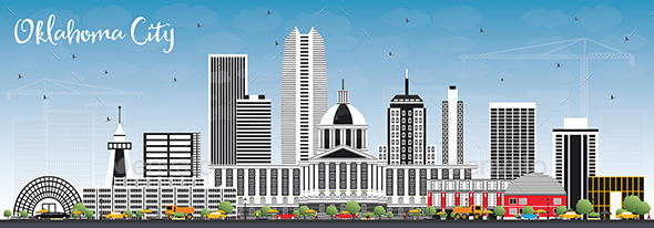 Oklahoma City Skyline with Gray Buildings and Blue Sky - Buildings Objects