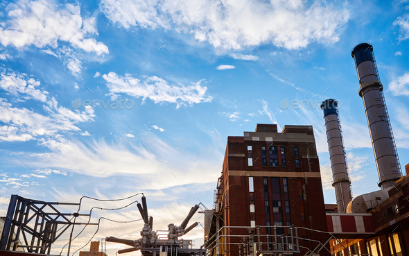 Industrial buildings at sunset. - Stock Photo - Images