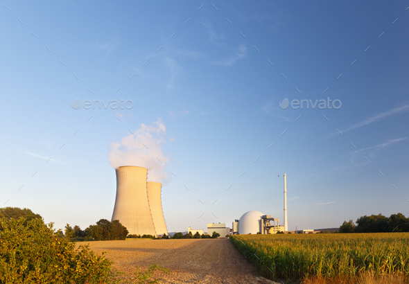 Nuclear Power Station In Green Landscape - Stock Photo - Images
