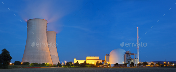 Nuclear Power Station At Night - Stock Photo - Images
