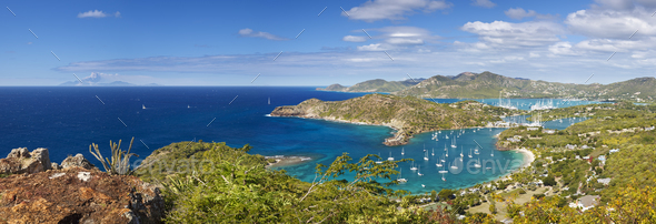 English Harbour Panorama, Antigua - Stock Photo - Images