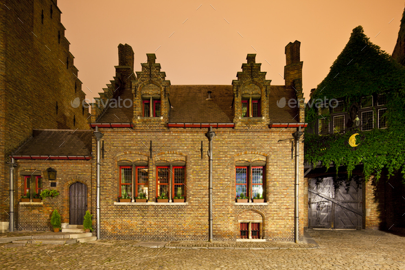 Little Old House In Bruges At Night - Stock Photo - Images