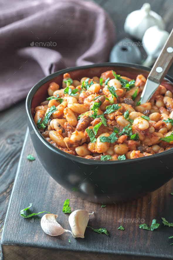 Bowl of mexican pinto beans - Stock Photo - Images