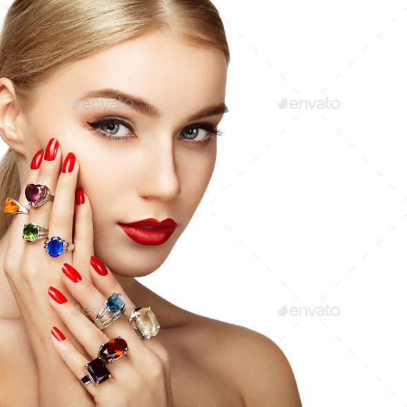 Portrait of beautiful woman with jewelry - Stock Photo - Images