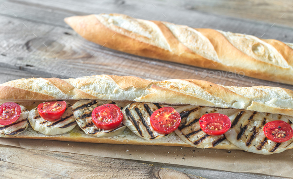 Sandwich with grilled aubergines - Stock Photo - Images